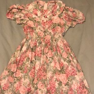 floral dress with lace & satin rosettes neckline